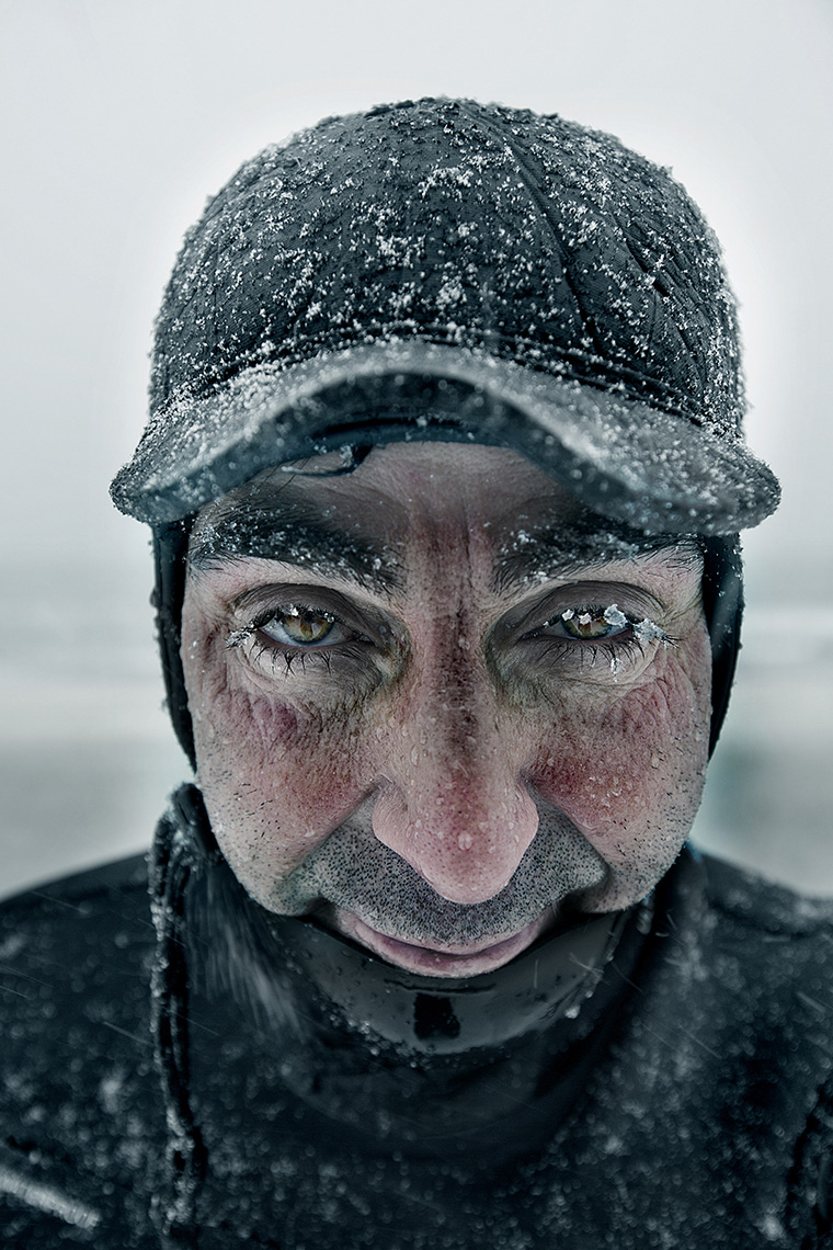 Winter surfer by Boston based commercial portrait photographer Brian Nevins