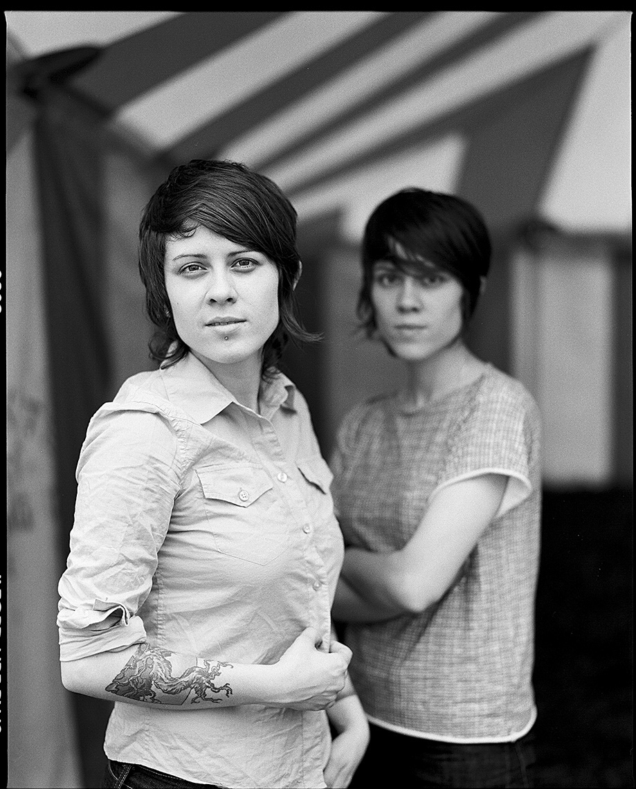 Tegan and Sara at Bonnaroo by Boston based commercial celebrity photographer Brian Nevins