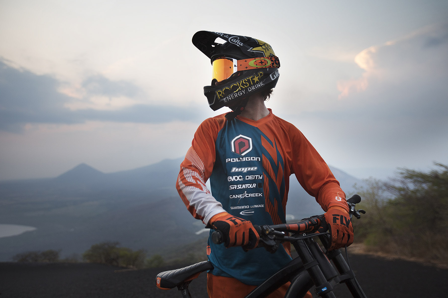 Kurt Sorge mountain bikes the volcano Momotombo  by Boston based commercial lifestyle photographer Brian Nevins