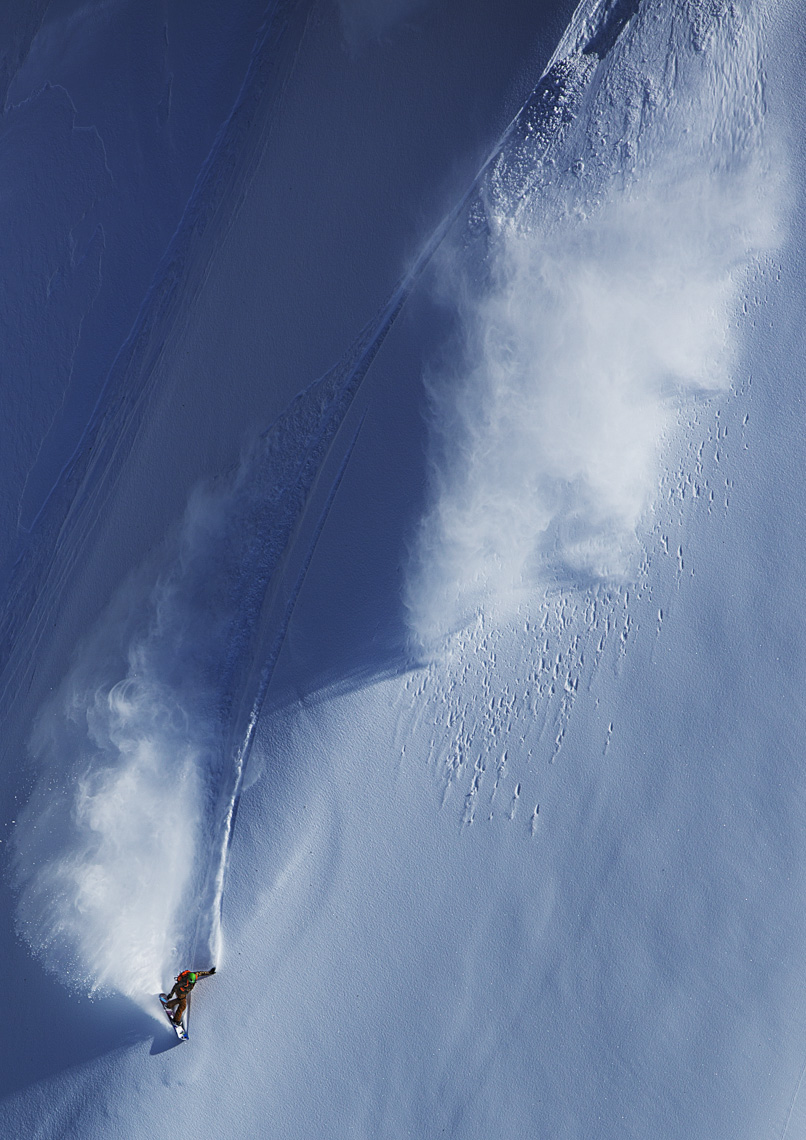 Olympian Seth Wescott snowboards Alaska by Boston based commercial sports photographer Brian Nevins