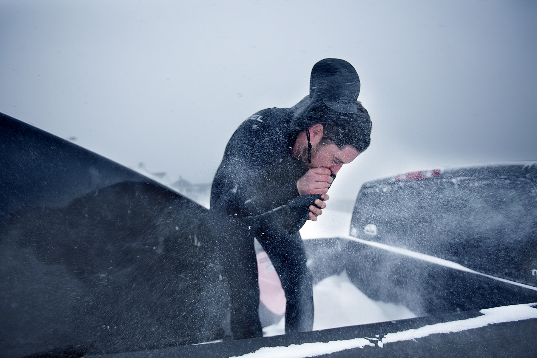 Winter surfing in New England by Boston based commercial lifestyle photographer Brian Nevins