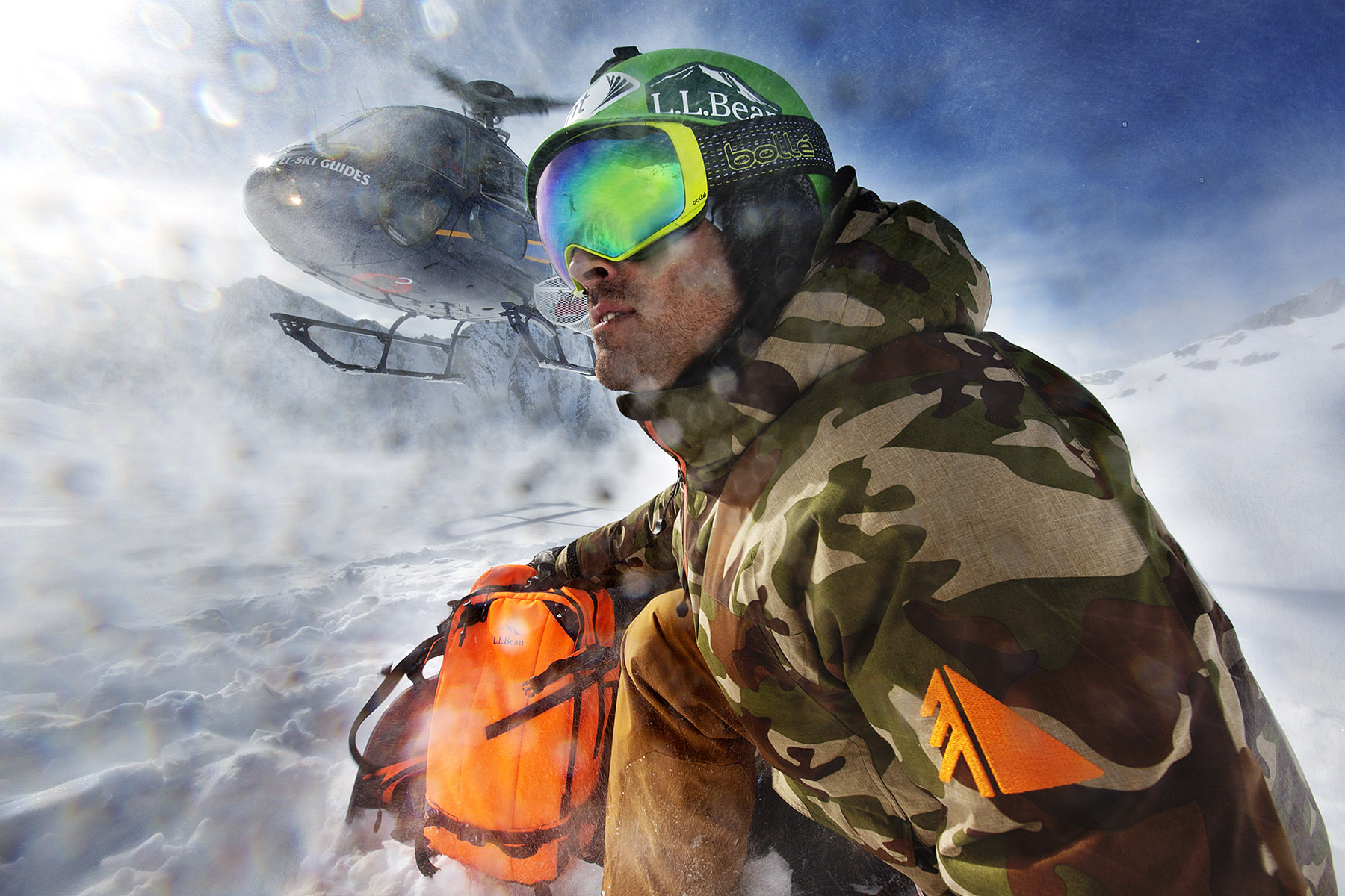 Seth Wescott wearing LL Bean outerwear while heli boarding in Valdez, Alaska by Boston based commercial lifestyle photographer Brian Nevins