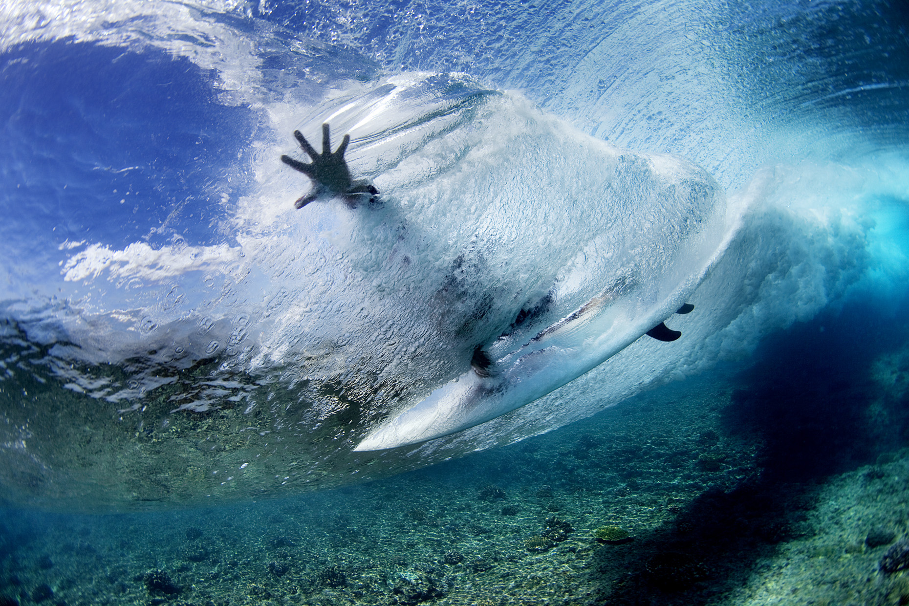 Underwater surfer by Boston based commercial sports photographer Brian Nevins