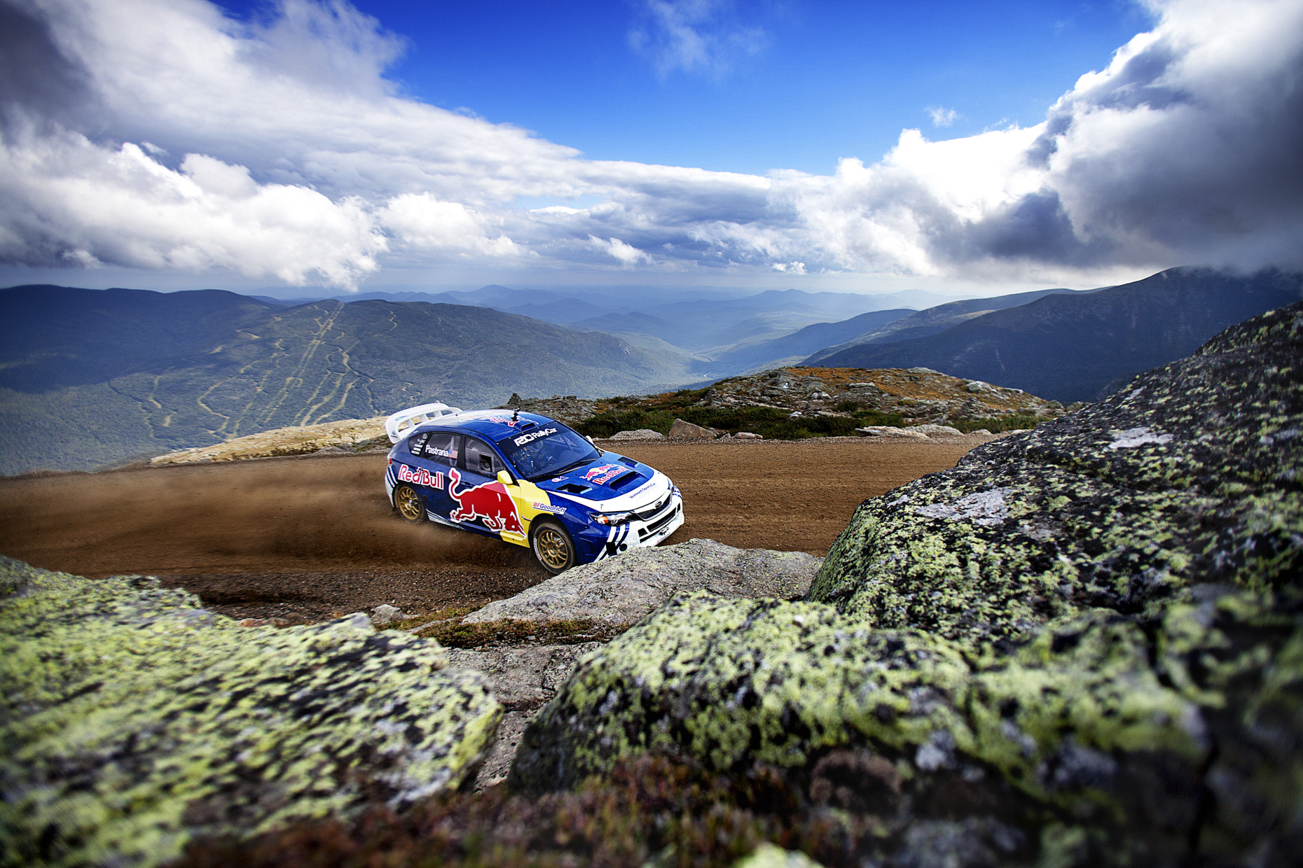 Travis Pastrana rally races Mount Washington for Red Bull by Boston based commercial sports photographer Brian Nevins