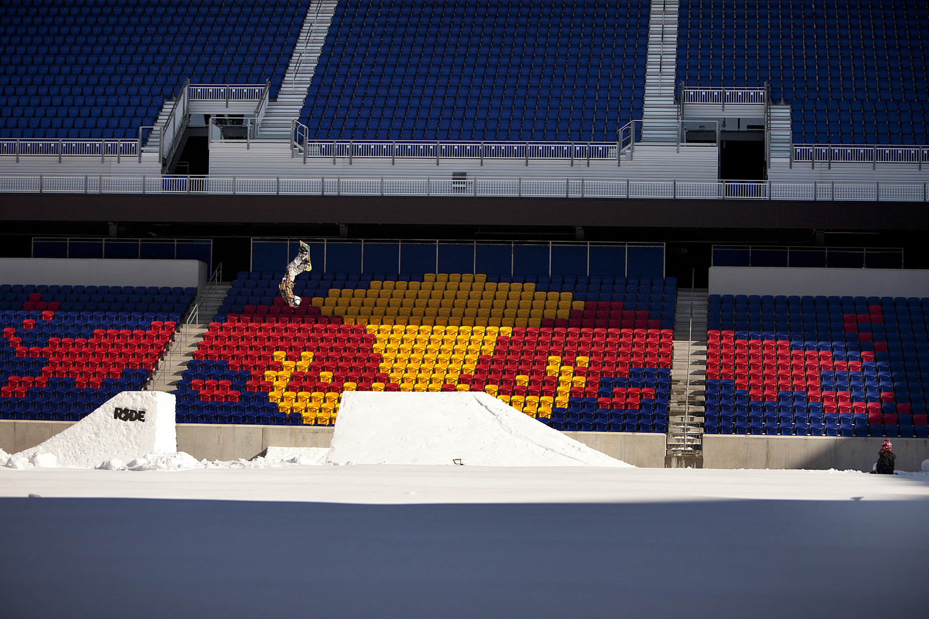 Nils Mindnech Snowboards Red Bulls soccer Stadium by Boston based commercial sports photographer Brian Nevins
