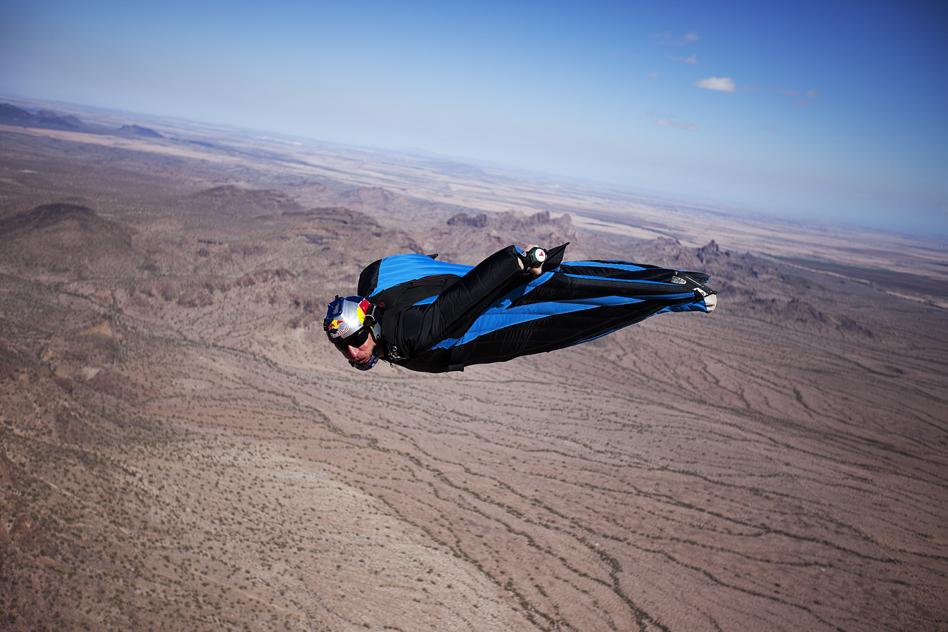 Andy Farrington wing suit skydiving for Red Bull by Boston based commercial sports photographer Brian Nevins