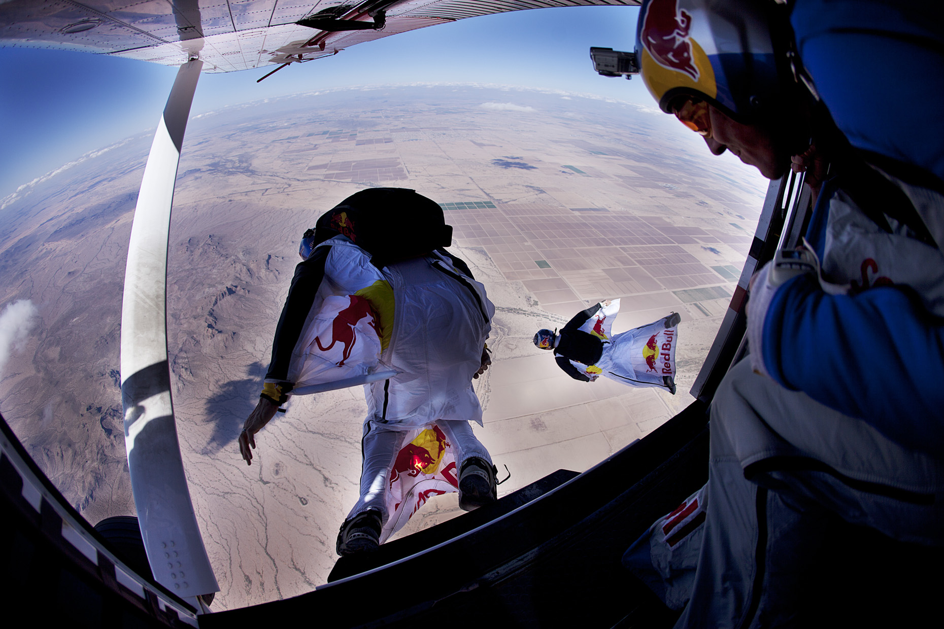 Red Bull Airforce wing suits over Arizona for Red Bull by Boston based commercial sports photographer Brian Nevins