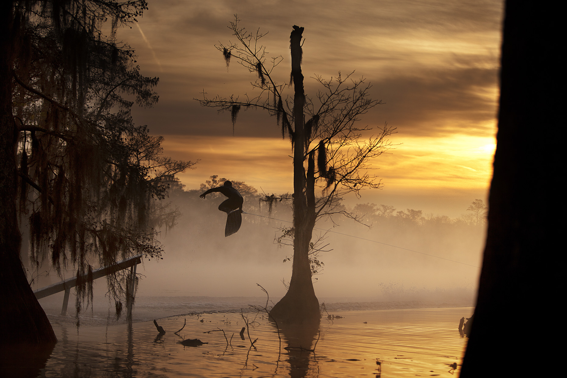 JD Webb wake boarding the swamps of Louisiana for Red Bull by Boston based commercial sports photographer Brian Nevins