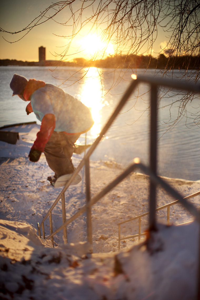 New England urban snowboarding by Boston based commercial sports photographer Brian Nevins