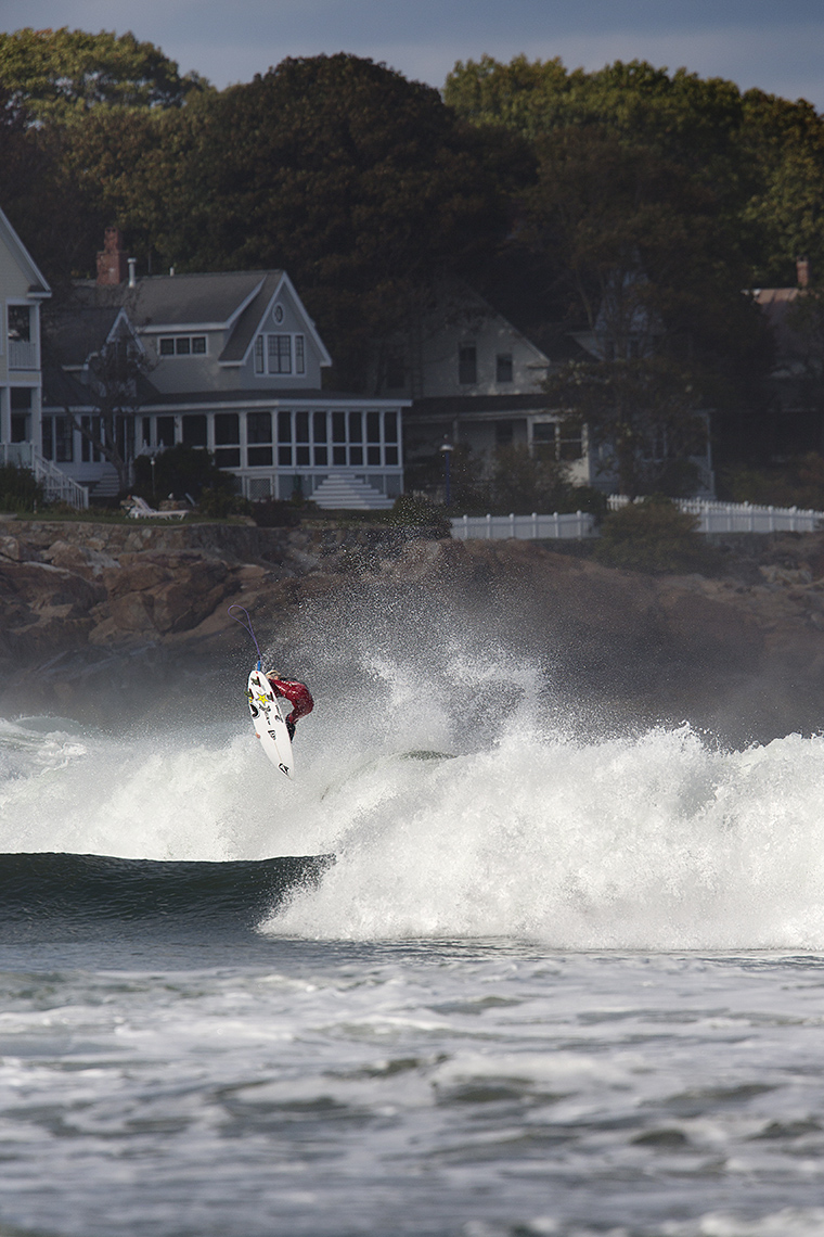 Balaram Stack surfing Maine for Surfer Magazine by Boston based commercial sports photographer Brian Nevins