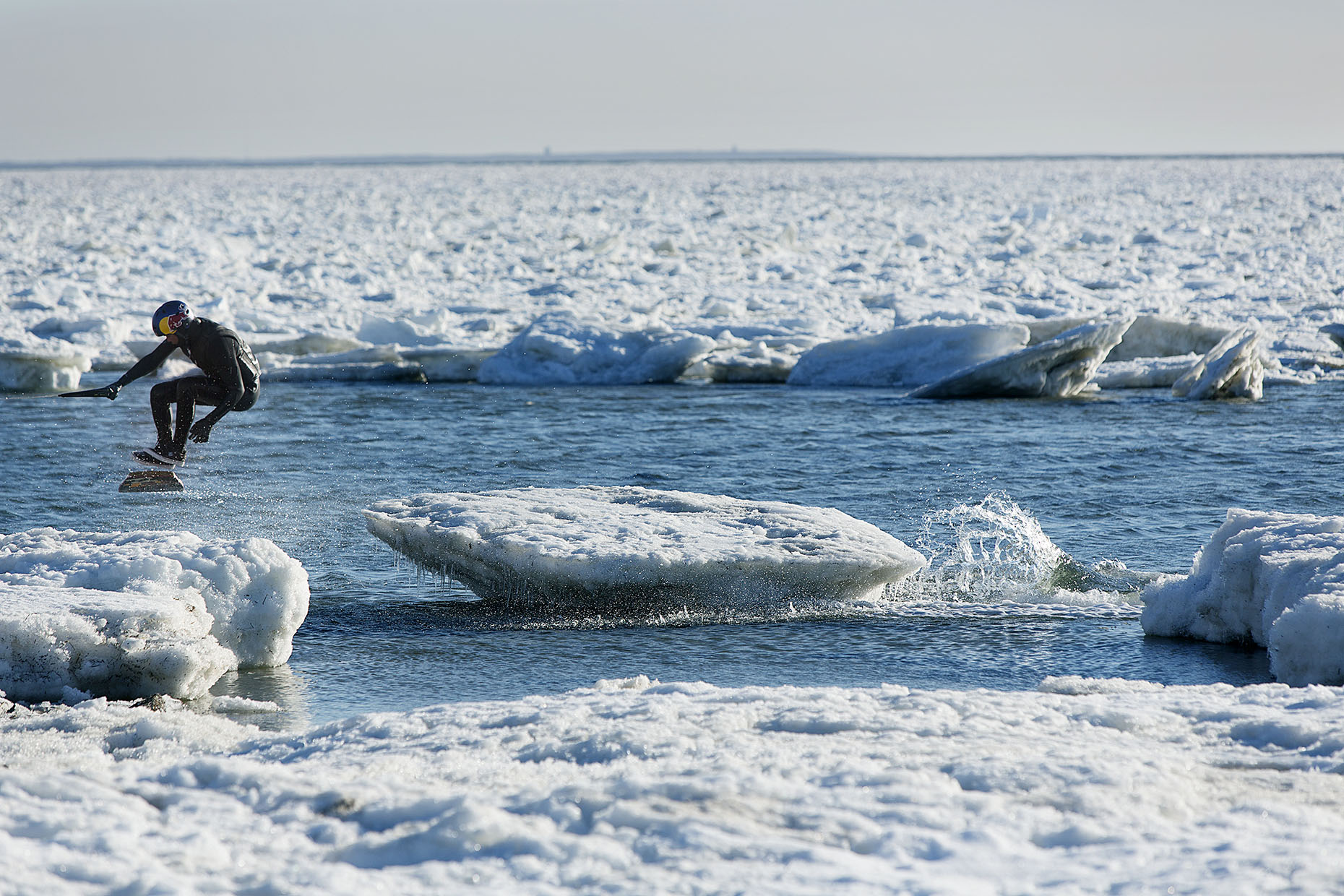 Wakeboarding icebergs in Cape Cod for Red Bull by Boston based commercial sports photographer Brian Nevins